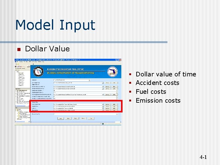 Model Input n Dollar Value Dollar value of