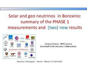 Solar and geo neutrinos in Borexino summary of