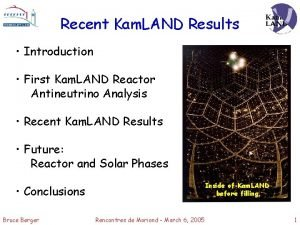 Recent Kam LAND Results Introduction First Kam LAND