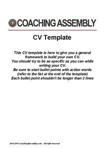CV Template This CV template is here to