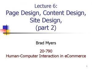 Lecture 6 Page Design Content Design Site Design