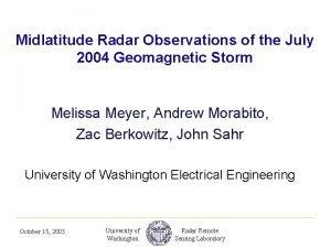 Midlatitude Radar Observations of the July 2004 Geomagnetic