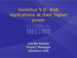 Gene Xus 9 0 Web applications at their