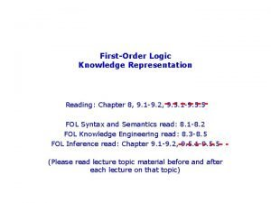 FirstOrder Logic Knowledge Representation Reading Chapter 8 9