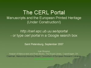 The CERL Portal Manuscripts and the European Printed