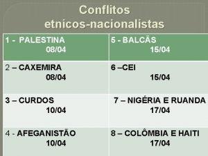 Conflitos etnicosnacionalistas 1 PALESTINA 0804 2 CAXEMIRA 0804