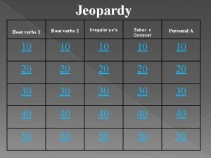 Jeopardy Boot verbs 1 Boot verbs 2 Irregular