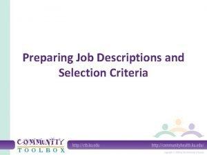 Preparing Job Descriptions and Selection Criteria A job