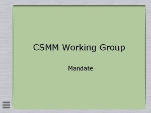 CSMM Working Group Mandate The CSMM mandate 25
