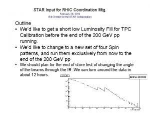STAR Input for RHIC Coordination Mtg February 28