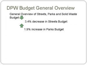 DPW Budget General Overview of Streets Parks and