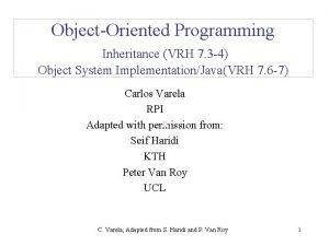 ObjectOriented Programming Inheritance VRH 7 3 4 Object