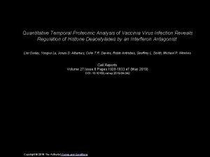 Quantitative Temporal Proteomic Analysis of Vaccinia Virus Infection