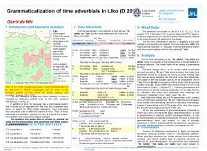 Grammaticalization of time adverbials in Liko D 201