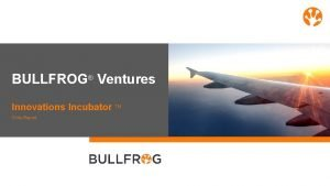 BULLFROG Ventures Innovations Incubator TM Chile Report Industrys