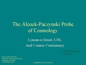 The AlcockPaczynski Probe of Cosmology Lyman forest LSS
