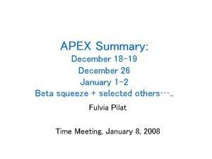 APEX Summary December 18 19 December 26 January