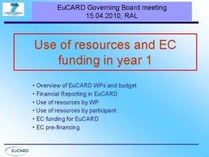 Eu CARD Governing Board meeting 15 04 2010