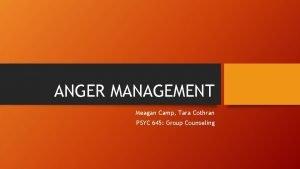 ANGER MANAGEMENT Meagan Camp Tara Cothran PSYC 645