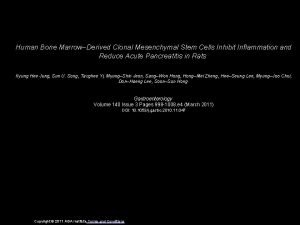 Human Bone MarrowDerived Clonal Mesenchymal Stem Cells Inhibit