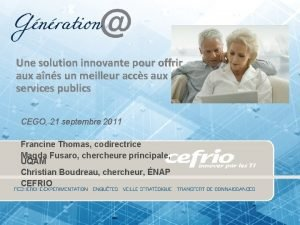 Une solution innovante p Une solution innovante our