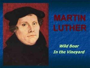 MARTIN LUTHER Wild Boar In the Vineyard Martin