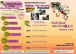 Individual Mandarin Course Accumulated Credit Program Individual Mandarin