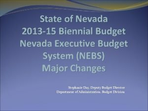 State of Nevada 2013 15 Biennial Budget Nevada