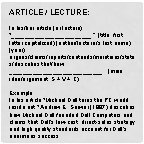 ARTICLE LECTURE In hisher article or lecture title