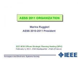 AESS 2011 ORGANIZATION Marina Ruggieri AESS 2010 2011