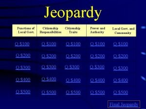Jeopardy Functions of Local Govt Citizenship Responsibilities Citizenship