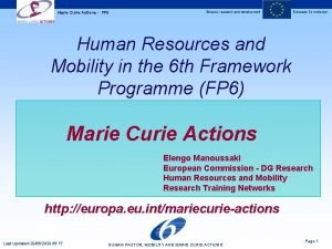 Marie Curie Actions FP 6 Science research and