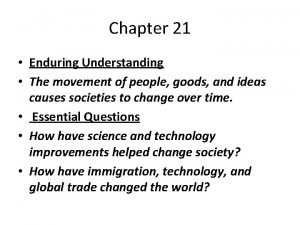 Chapter 21 Enduring Understanding The movement of people