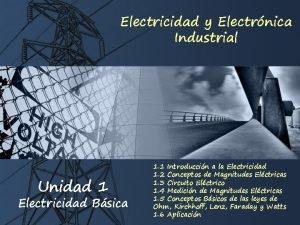 Electricidad y Electrnica Industrial Unidad 1 Electricidad Bsica