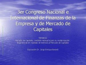 3 er Congreso Nacional e Internacional de Finanzas