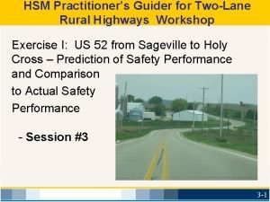 HSM Practitioners Guider for TwoLane Rural Highways Workshop