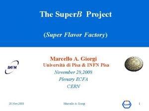 The Super B Project Super Flavor Factory Marcello