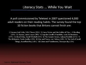 Literacy Stats While You Wait A poll commissioned