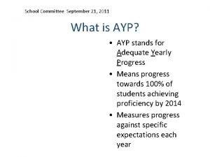 School Committee September 21 2011 What is AYP