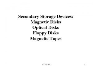 Secondary Storage Devices Magnetic Disks Optical Disks Floppy