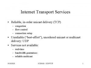 Internet Transport Services Reliable inorder unicast delivery TCP