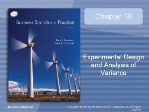 Chapter 10 Experimental Design and Analysis of Variance