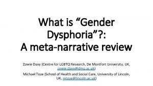What is Gender Dysphoria A metanarrative review Zowie