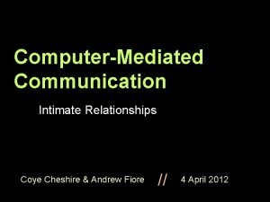 ComputerMediated Communication Intimate Relationships Coye Cheshire Andrew Fiore