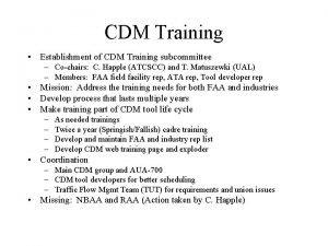 CDM Training Establishment of CDM Training subcommittee Cochairs