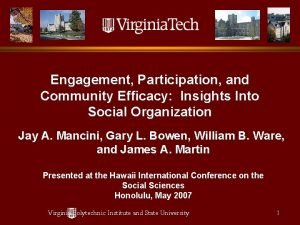 Engagement Participation and Community Efficacy Insights Into Social