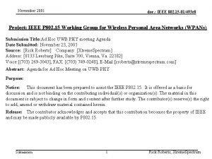 November 2001 doc IEEE 802 15 01493 r
