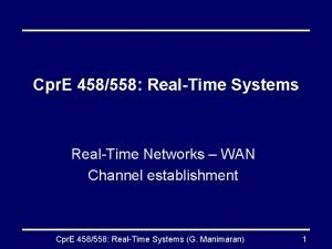 Cpr E 458558 RealTime Systems RealTime Networks WAN