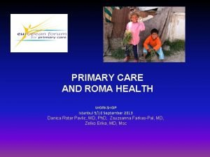 PRIMARY CARE AND ROMA HEALTH WORKSHOP Istanbul 910