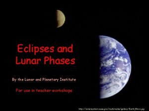 Eclipses and Lunar Phases By the Lunar and